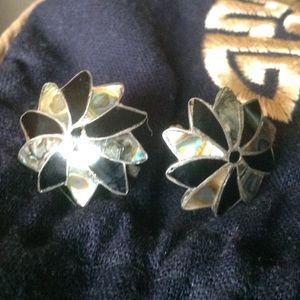 Vintage 925 Abalone Mex Artisan Earrings 1940s